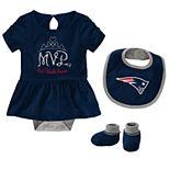 Baby Girl NFL New England Patriots MVP Creeper, Bib, & Bootie Set