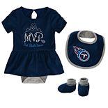 Baby Girl NFL Tennessee Titans MVP Creeper, Bib, & Bootie Set