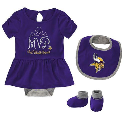 Baby Girl NFL Minnesota Vikings MVP Creeper, Bib, & Bootie Set