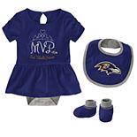 Baby Girl NFL Baltimore Ravens MVP Creeper, Bib, & Bootie Set