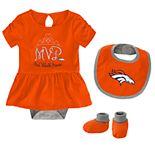 Baby Girl NFL Denver Broncos MVP Creeper, Bib, & Bootie Set