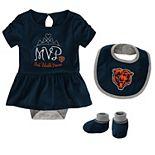 Baby Girl NFL Chicago Bears MVP Creeper, Bib, & Bootie Set