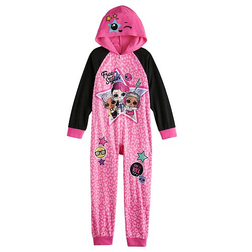 Girls 4-16 L.OL. Surprise! One-Piece Hooded Fleece Footless Pajamas