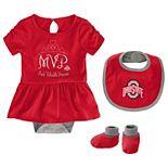 Baby Girl Ohio State Buckeyes MVP 3-Piece Bodysuit Set