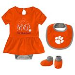 Baby Girl Clemson Tigers MVP 3-Piece Bodysuit Set