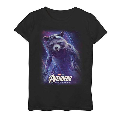 Girls 7-16 Marvel Avengers Endgame Rocket Space Poster Tee