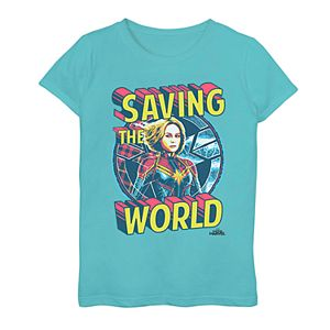 Girls 7-16 Marvel Captain Marvel Save The World Graphic Tee