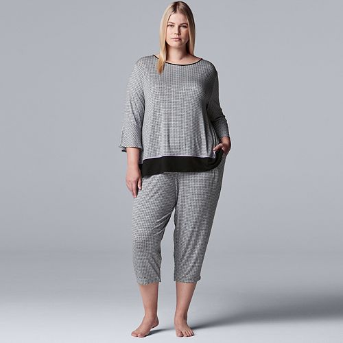 Plus Size Women's Simply Vera Vera Wang 3/4 Sleeve Top & Capris