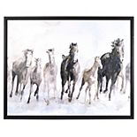 New View Gifts & Accessories Framed Canvas W/ HP Stamped at Dawn Horses