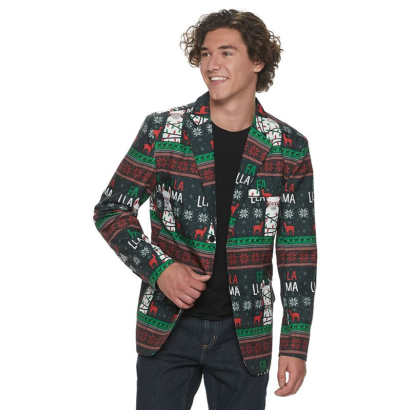 Light up the night with these men\\\'s Christmas Starlight Blazers. Light up the night with these men\\\'s Christmas Starlight Blazers. Lightweight Flap & Faux Pockets Button Closure Long Sleeves FABRIC & CARE Polyester Machine Wash Imported Color: Black. Gender: male. Age Group: adult. Pattern: Graphic. Material: Other Synthetic.