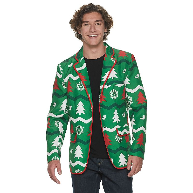 Light up the night with these men\\\'s Christmas Starlight Blazers. Light up the night with these men\\\'s Christmas Starlight Blazers. Lightweight Flap & Faux Pockets Button Closure Long Sleeves FABRIC & CARE Polyester Machine Wash Imported Color: Green. Gender: male. Age Group: adult. Pattern: Graphic. Material: Other Synthetic.