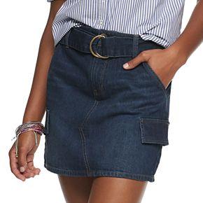 Juniors' Mudd D-Ring Twill Skirt