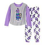 Girl's 8-14 Fortnite Llama Top & Plush Pajama Set