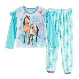 Pink Dreamworks Girls Trolls Poppy 4-12 Plush Top /& Bottoms Pajama Set