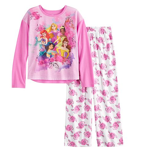 Disney Princess Girls 4-10 Top & Bottoms Pajamas