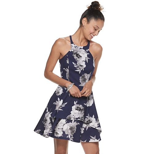 Juniors' Speechless Floral Sleeveless High Neck Skater Dress