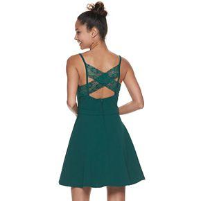 Juniors' Speechless Lace Back Pocket Skater Dress