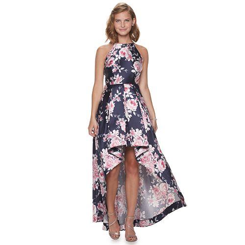 Juniors' Speechless Floral Print Maxi Halter Dress With Hi-Low Skirt