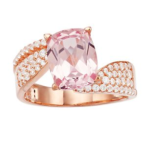 14k Rose Gold Over Silver Simulated Morganite Bypass Ring