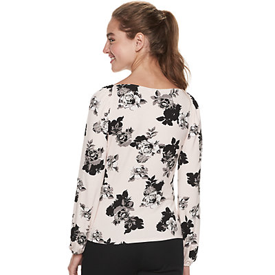 Juniors' Candie's Square Neck with Easy Volume Sleeves Top