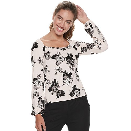 Juniors' Candie's® Square Neck with Easy Volume Sleeves Top