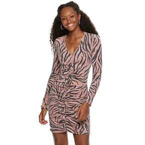 Juniors' Love, Fire Long Sleeve Ruched Front Rib Dress