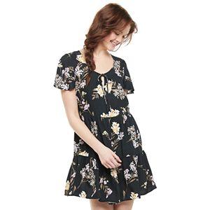 Juniors' Love, Fire Short Sleeve Woven Babydoll Dress