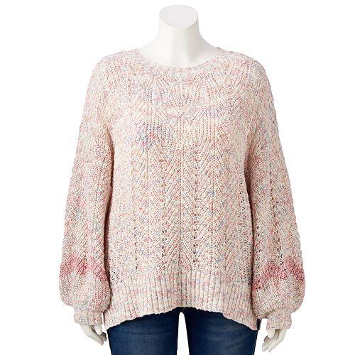 Plus Size LC Lauren Conrad Tie Back Pullover Sweater