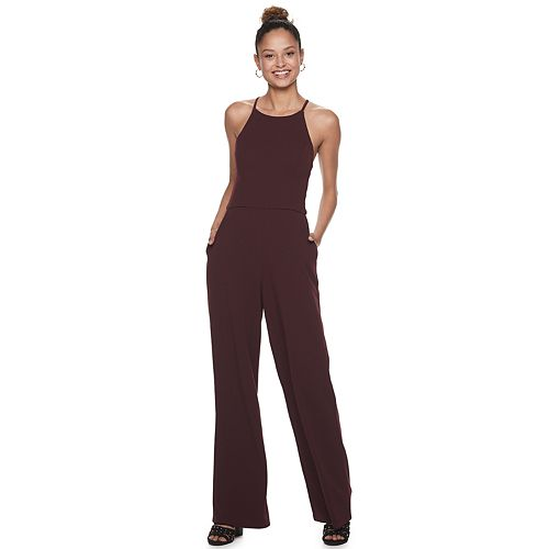 Juniors' Speechless Jumpsuit with Lace Trim at Back