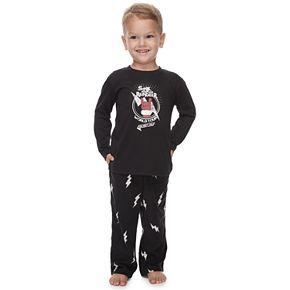 Toddler Jammies For Your Families Santa's World Tour Top & Bottoms Pajama Set