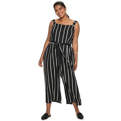Juniors' Plus Size Candie's® Button Front Tie Waist Jumpsuit