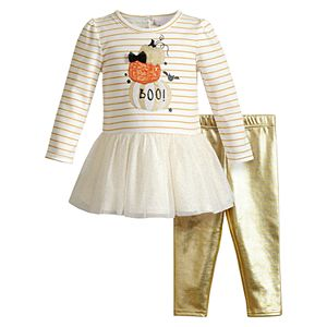 Baby Girl Youngland 2-piece Halloween Dress & Metallic Leggings Set