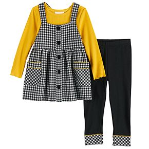 Toddler Girl Youngland Plaid Jumper, Long-Sleeve Tee & Leggings Set