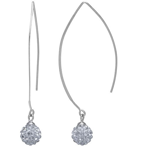 Main and Sterling Sterling Silver Crystal Thread Wire Drop Earrings