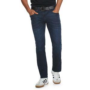 Men's Cultura Belted Washed Super Flex Dark Blue Skinny Jeans