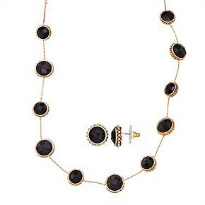 Napier Gold Tone Station Necklace & Stud Earring Set