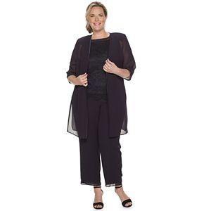 Plus Size Le Bos Beaded Poncho & Pant Set