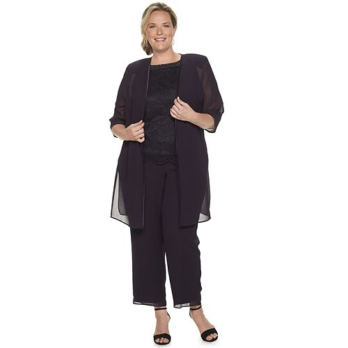 Women's Plus Size Le Bos Charmeuse Lace 3-Piece Pants Set With Embellished Neckline Top