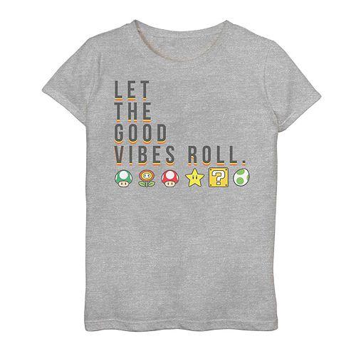 Girls 7-16 Nintendo Super Mario Items Good Vibes Graphic Tee