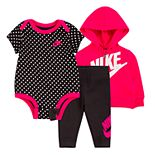 Baby Girl Nike 3 Piece Bodysuit, Zip Hoodie and Pants Set