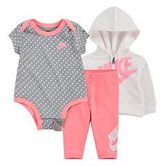 b5520f9b7fb02 Baby Girl Nike 3 Piece Bodysuit, Zip Hoodie and Pants Set