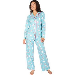 Women's Nite Nite by Munki Munki Kitten Candy Cane Pajama Shirt & Pajama Pants Set
