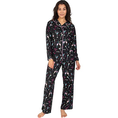 Women's Nite Nite by Munki Munki New Years Party Pajama Shirt & Pajama Pants Set