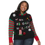 Juniors' Plus Size It's Our Time Santa's Favorite Helper Hooded Pullover Sweater