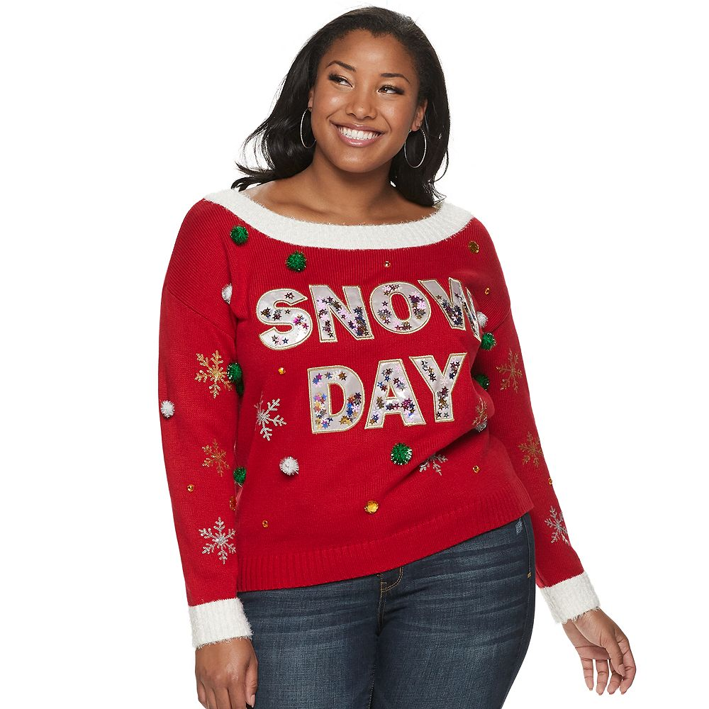 Juniors' Plus Size It's Our Time Long Sleeve Off-the-Shoulder Christmas Snow Day Pullover Sweater