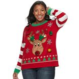 Juniors' Plus Size It's Our Time Reindeer Christmas Pullover Sweater