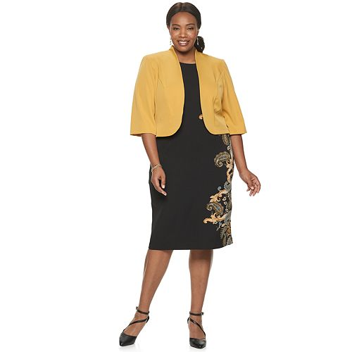 Plus Size Maya Brooke Paisley Side Print Jacket Dress