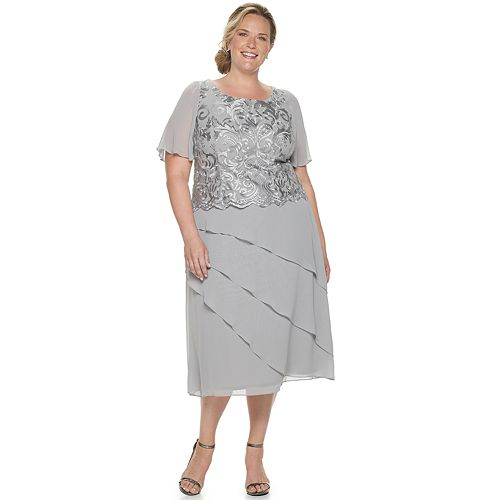 Women's Plus Size Le Bos Embroidered Tiered Asymmetrical Dress
