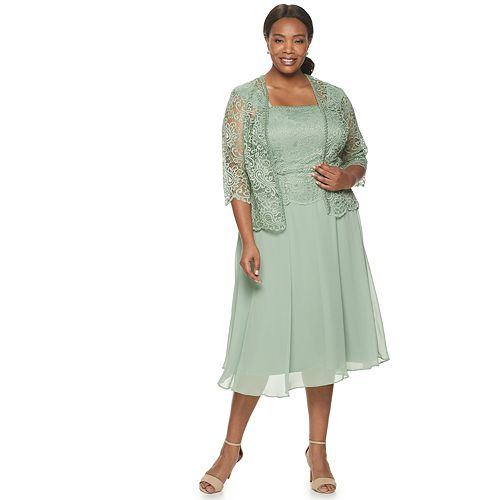 Plus Size Le Bos Lace Beaded Jacket Dress