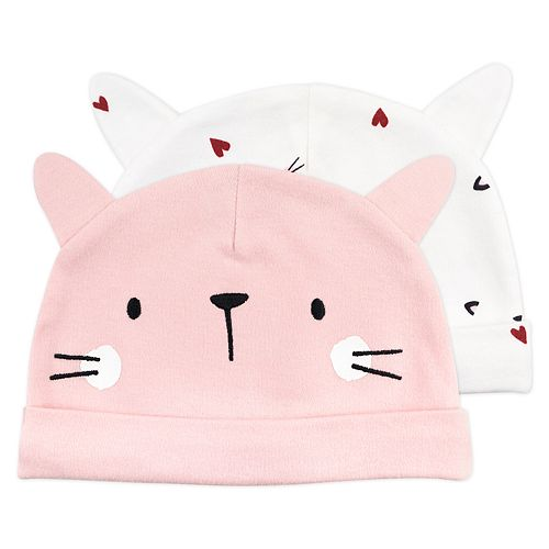 Baby Girl Mac & Moon 2-Pack Kitty Print Caps with Cat Ears